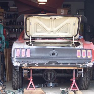 3/3/17 Set the back of the Mustang on jack stands to remove the rear & the leaf springs.